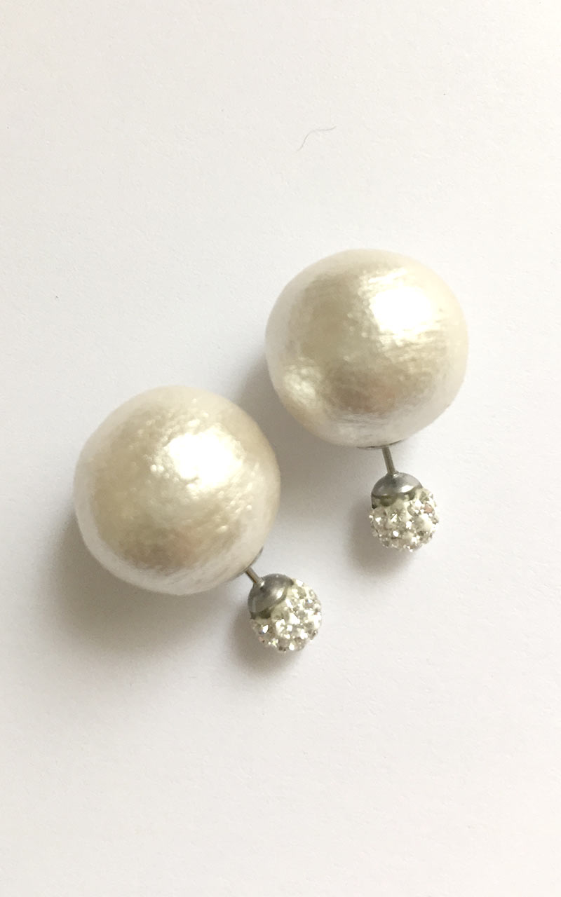 EB-01     crystal ball front,  L size white or grey cotton pearls back