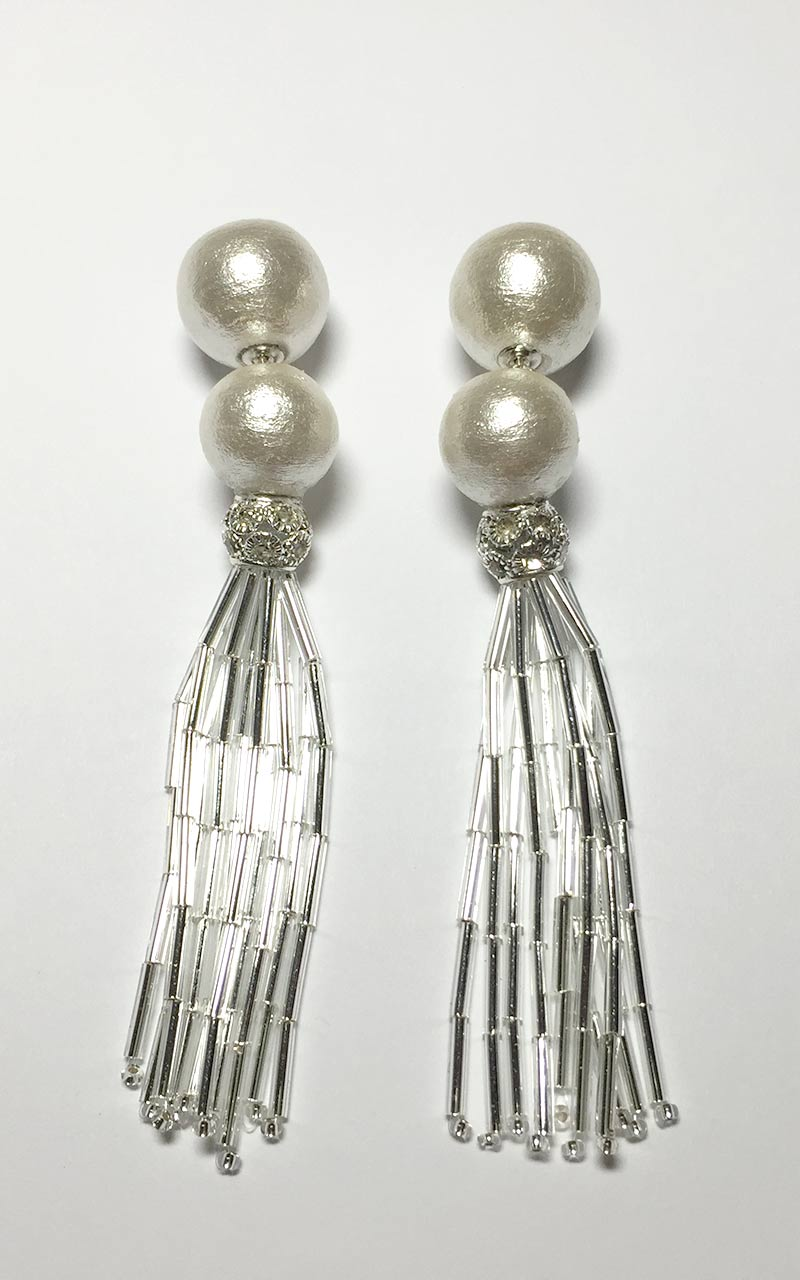 EP-01     White cotton pearls, glass beaded tassels