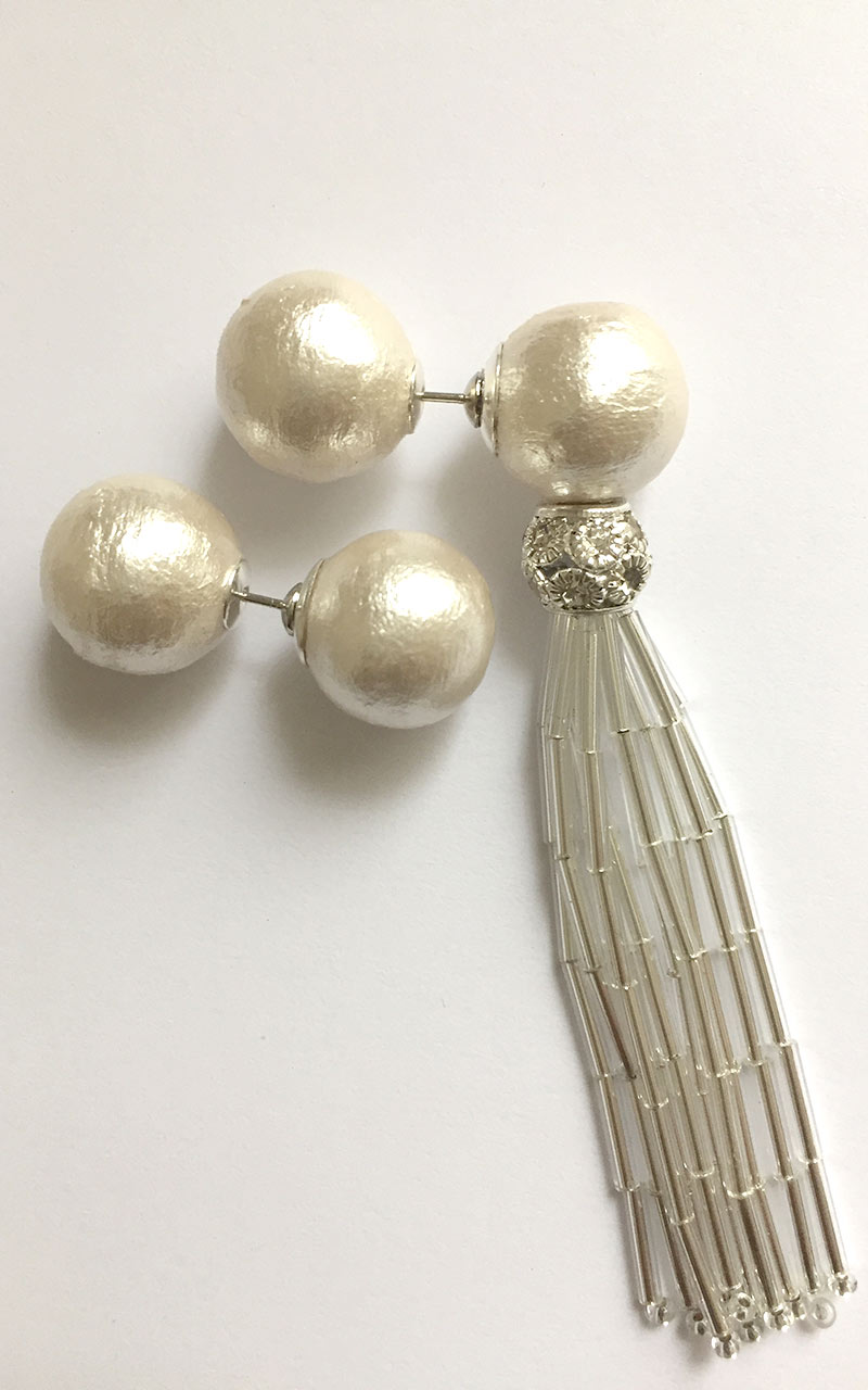 EP-02     White cotton pearls, glass beaded tassels