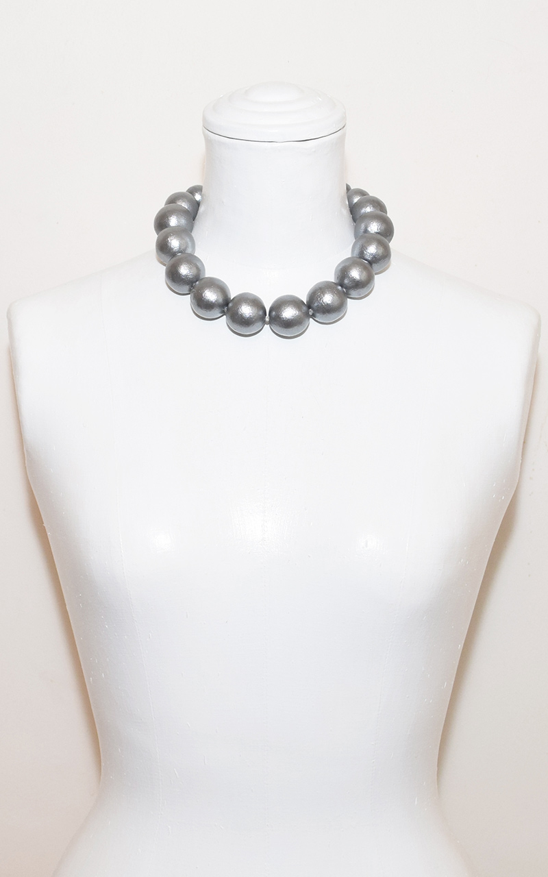 G-05     Ribbon or Clasp     White or grey gradation cotton pearls, grosgrain ribbon or magnetic clasp
